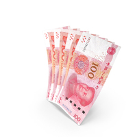 Handful of 100 Chinese Yuan Banknote Bills PNG & PSD Images