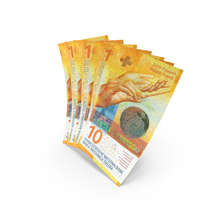 Handful of 10 Swiss Franc Banknote Bills PNG & PSD Images
