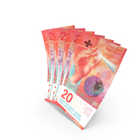 Handful of 20 Swiss Franc Banknote Bills PNG & PSD Images