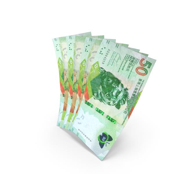 Handful of 50 Hong Kong Dollar Banknote Bills PNG & PSD Images