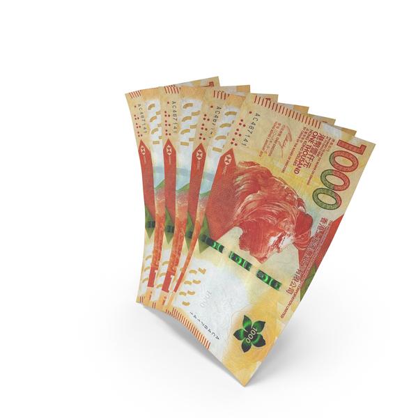 Handful of 1000 Hong Kong Dollar Banknote Bills PNG & PSD Images
