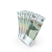 Handful of 5 Russian Ruble Banknote Bills PNG & PSD Images