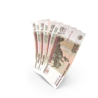 Handful of 100 Russian Ruble Banknote Bills PNG & PSD Images