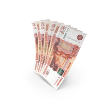 Handful of 5000 Russian Ruble Banknote Bills PNG & PSD Images