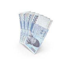 Handful of 1000 Korean Won Banknote Bills PNG & PSD Images