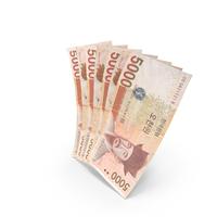 Handful of 5000 Korean Won Banknote Bills PNG & PSD Images
