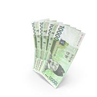 Handful of 10000 Korean Won Banknote Bills PNG & PSD Images