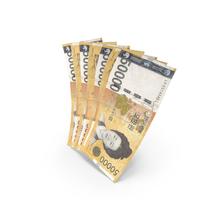 Handful of 50000 Korean Won Banknote Bills PNG & PSD Images
