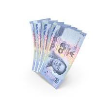 Handful of 50 Thai Baht Banknote Bills PNG & PSD Images
