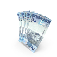 Handful of 2 Brazilian Real Banknote Bills PNG & PSD Images