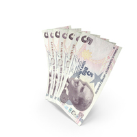 Handful of 5 Turkish Lira Banknote Bills PNG & PSD Images