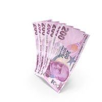 Handful of 200 Turkish Lira Banknote Bills PNG & PSD Images