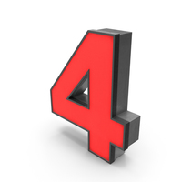 Luminous Number 4 Red PNG & PSD Images