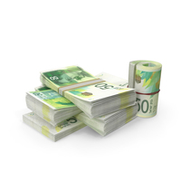 Small Pile of Israeli Shekel Stacks PNG & PSD Images