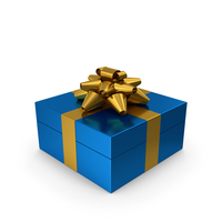 Gift Box Blue Gold PNG & PSD Images