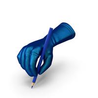 Glove Holding a Blue Color Pencil PNG & PSD Images