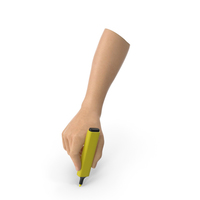 Hand Holding a Yellow Highlight Marker PNG & PSD Images