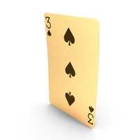 Golden playing Cards 3 of Spades PNG & PSD Images