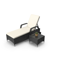 Sun Lounger With Table PNG & PSD Images