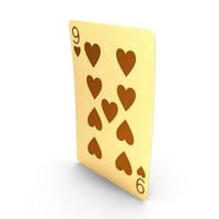 Golden Playing Cards 9 of Hearts PNG & PSD Images