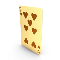 Golden Playing Cards 7 of Hearts PNG & PSD Images