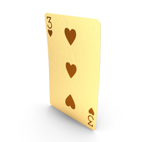 Golden Playing Cards 3 of Hearts PNG & PSD Images