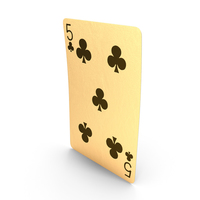 Golden Playing Cards 5 of Clubs PNG & PSD Images