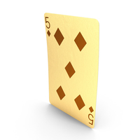 Golden Playing Cards 5 of Diamonds PNG & PSD Images