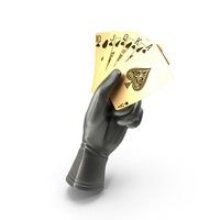 Glove Holding a Golden Royal Flush PNG & PSD Images