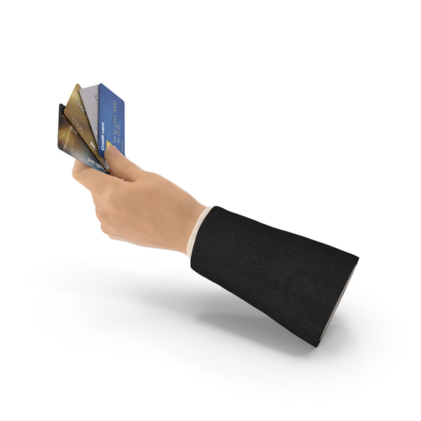 Suit Hand Holding Credit Cards PNG & PSD Images