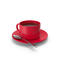 Red Coffee Cup With Spoon PNG & PSD Images