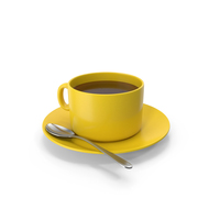 Yellow Coffee Cup With Spoon PNG & PSD Images