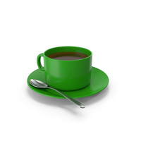 Green Coffee Cup With Spoon PNG & PSD Images
