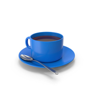 Blue Coffee Cup With Spoon PNG & PSD Images