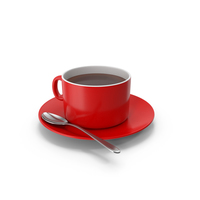 Red White Coffee Cup With Spoon PNG & PSD Images