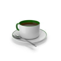 Green White Coffee Cup With Spoon PNG & PSD Images