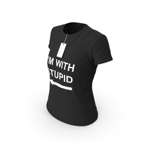 Female Crew Neck Worn With Tag Black Im With Stupid PNG & PSD Images