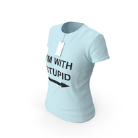 Female Crew Neck Worn With Tag Blue Im With Stupid PNG & PSD Images