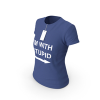 Female Crew Neck Worn With Tag Dark Blue Im With Stupid PNG & PSD Images