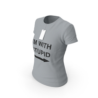 Female Crew Neck Worn With Tag Gray Im With Stupid PNG & PSD Images