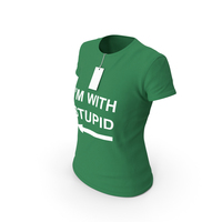 Female Crew Neck Worn With Tag Green Im With Stupid PNG & PSD Images
