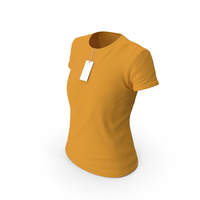 Female Crew Neck Worn With Tag Orange PNG & PSD Images