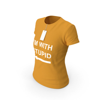 Female Crew Neck Worn With Tag Orange I'm With Stupid PNG & PSD Images