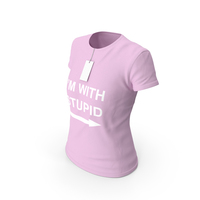 Female Crew Neck Worn With Tag Pink Im With Stupid PNG & PSD Images