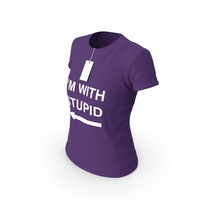 Female Crew Neck Worn With Tag Purple Im With Stupid PNG & PSD Images