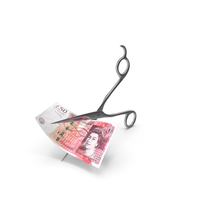 Scissors Cutting a 50 UK Pound Bill PNG & PSD Images