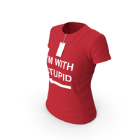 Female Crew Neck Worn With Tag Red Im With Stupid PNG & PSD Images