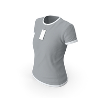 Female Crew Neck Worn With Tag White and Gray PNG & PSD Images