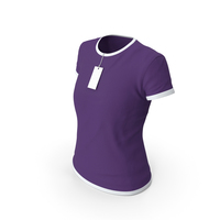 Female Crew Neck Worn With Tag White and Purple PNG & PSD Images