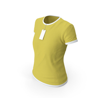 Female Crew Neck Worn With Tag White and Yellow PNG & PSD Images